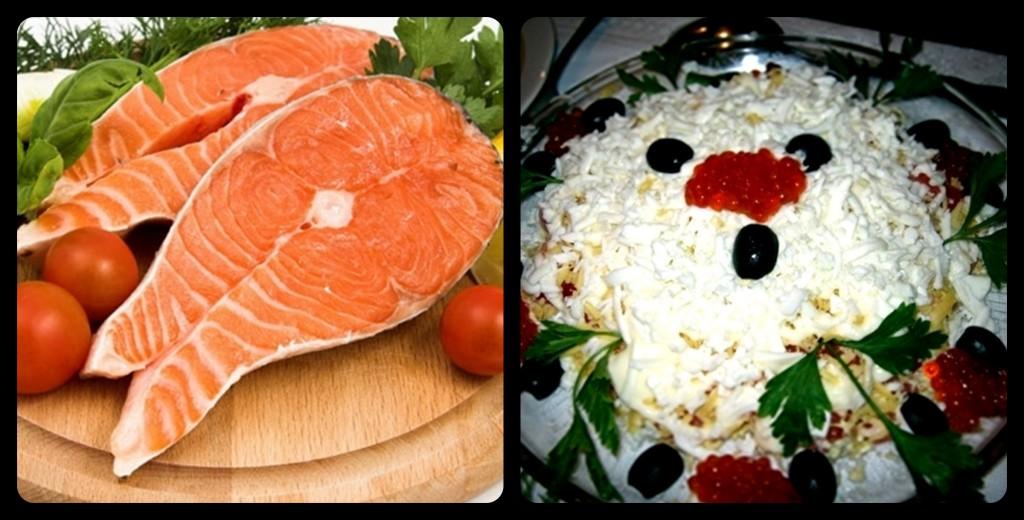 Салаты с соленой красной рыбойы